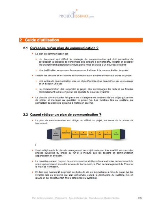 Plan de communication projet for Projet de plan